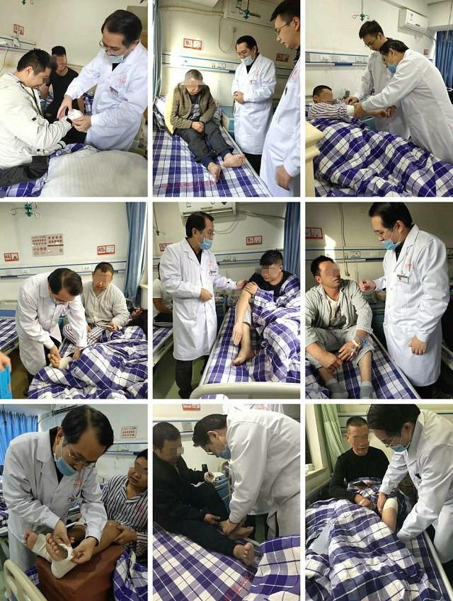 (图:冉然主任病房巡查,为主治患者评估病情康复情况,及时调整治疗康复方案)